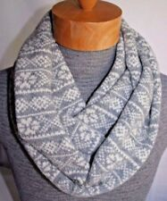 GAP fair-isle Grey White infinity scarf Wool blend NWT $45