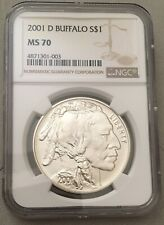 2001-D NGC MS70 S$1 Buffalo Commemorative Silver One Dollar Coin
