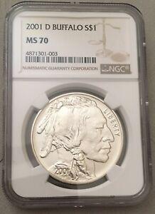 2001-D NGC MS70 S$1 Buffalo Commemorative Silver One Dollar Coin