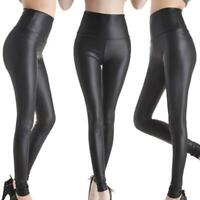 Black Leggings High Waist Faux Leather Ladies Stretch Pant  Trousers Hot Sale