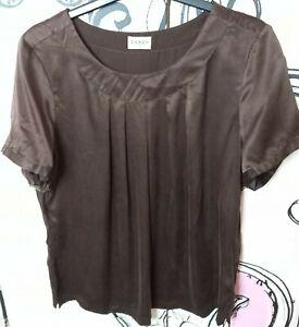 Size 16 Vintage C&A Canda 100% SILK Dark Brown Hip Length Top Short Sleeve