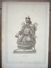 GRAVURE ORIGINALE COSTUME 19ème SIÈCLE CHINOIS MANDARIN