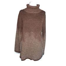100% Baby Alpaca Brown Chevron Ombre Turtleneck Sweater Womens Large