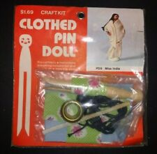 Vintage B Blumenthal Co Clothespin Doll Craft Kit Miss India