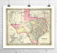 Antique State Map of Texas 1856 Rolled Canvas Giclee Print 29x24 in.
