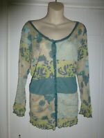 Moda George size 20 cardigan beige with turquoise pattern crinkle fabric