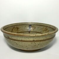 """Speckled Brown Stripe Pottery Bowl Stoneware Signed Mixing Serving Dish 9.5"""""""