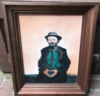 Sad Clown Oil Painting On Canvas Wooden Framed Signed Marie Neth Vintage 1960s