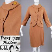 S/M Vintage 1950s Forstmann Tan Wool Tweed Suit Jacket & Skirt Set Separates 50s