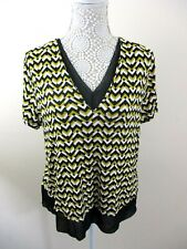 M&S Collection top size 14 stretch yellow mix + sheer black trim smart casual