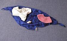 Vintage Dolls Crocheted Collar, Panties, One Sandal & Blue Silk Shawl Repurpose