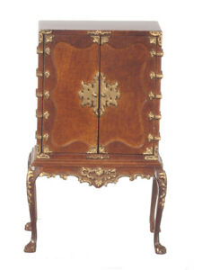 Dollhouse Miniature Chinese Chippendale Cabinet in Walnut by JBM