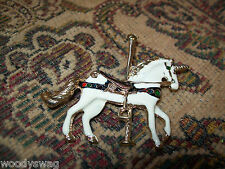 Unicorn Enamel Pin Brooch New Old Stock Carousel Vintage Red Saddle