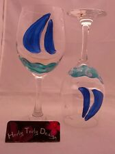 2 Hand-Painted Sailboat Wine Glasses