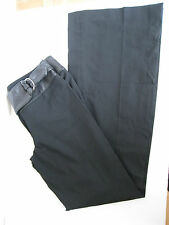 GUESS COLLECTION STRAIGHT TO WIDE LEG LAMBSKIN WAIST TIE FRONT BLACK PANTS, SZ 4