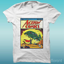 "T-SHIRT "" ACTION COMICS SUPERMAN ""  BIANCO THE HAPPINESS IS HAVE MY T-SHIRT NEW"