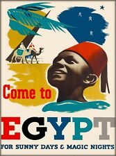 Come to Egypt Vintage Egyptian Travel Collectible Wall Decor Art Poster Print