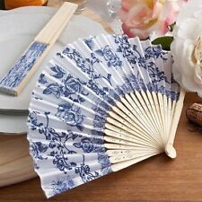 50 French Country Blue White Silk Garden Fan Wedding Shower Bridal Party Favors