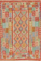 Red Turquoise Blue Turkish Kilim Area Rug Hand-Woven Oriental Wool Carpet 6x8