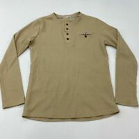 H2H Henley Shirt Men's Large Long Sleeve Tan Waffle Knit 100% Cotton Casual