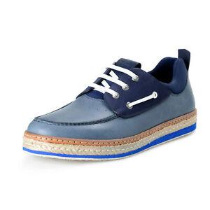 """Salvatore Ferragamo Men's """"Fiano"""" Men's Blue Leather Boat Loafers Shoes"""