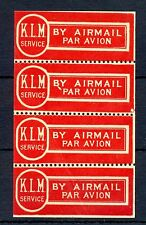 NEDERLAND 1930 ca.  KLM    RED AIRMAIL LABEL PANE OF 4  ** MNH   @34