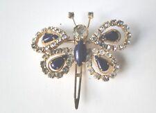 Vintage Rhinestone Purple Stone Butterfly Gold Hair Clip Barrette Accessory