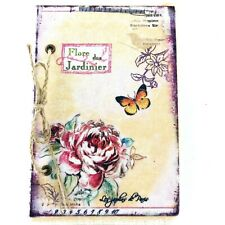 Vintage Roses & Butterfly Fabric Wrapped Notebook Journal Blank A5 Scrapebook