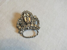 Beautiful Brooch Pin Religious Crown Silver Tone Filled Clear Rhinestones UNIQUE