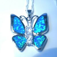 """**NEW**STUNNING BLUE FIRE OPAL BUTTERFLY 925 SILVER PENDANT + 20"""" SILVER CHAIN."""