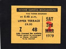 1979 The Three Degrees concert ticket stub Bournemouth When Will I See You Again