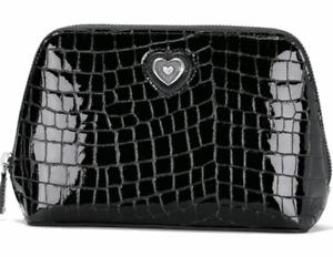 BRIGHTON BLACK PATENT CROCO BELLISSIMO HEART MAKEUP BAG. NEW