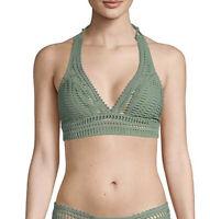 NEW $122 Robin Piccone Sea Green Women's Sophia Crochet Halter Bikini Top size S