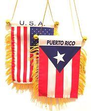 American Flag & Puerto Rico Flag Window Hanger Combo Car Decoration