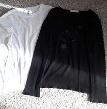Mädchen-Langarmshirts H&M u. Cache Größe 146/152 weiß u. schwarz