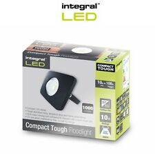 Integral LED Floodlight Compact Tough IP65 10w Black Cool White Outdoor Light