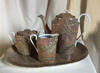 """Apilco, French designer Genevieve Lethu porcelain tea set. Pattern """"Kashmer""""1985"""