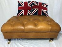 1 Extra Large Original John Lewis Tan Leather Drummond Chesterfield Footstool