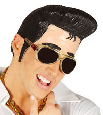 Elvis Latex Quiff Wig Adult Presley Danny Grease Head Topper Side Burns 1950's