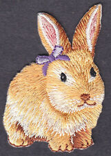RABBIT(BUNNY) w/LAVENDER  BOW- Iron On  Patch/ Forest Animal,Cute Critters