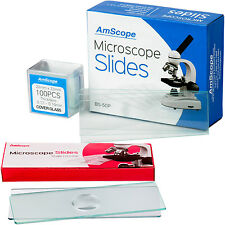 AmScope 50 Pre-Cleaned & 6 Single Concave Microscope Slides + 100 Coverslips