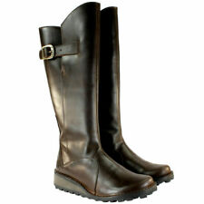 FLY LONDON MOL BROWN LEATHER KNEE HIGH WEDGE BOOTS UK 7 EUR 40 USA 9 RRP £160