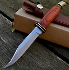 "8"" New Hunting Skinning Fixed Blade Knife w/ Leather Sheath Wood Handle"