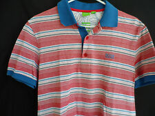 Hugo Boss Green Label Modern Fit Polo Button Shirt Red White Blue Striped Size M