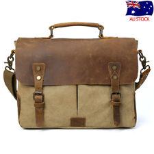 """Men Vintage Leather Canvas 14"""" Laptop Travel Shoulder Messenger Bag Tote Satchel"""