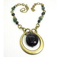 LIA SOPHIA Chunky Green Bead Pendant Necklace Matte Gold