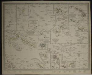 POLYNESIA PACIFIC ISLANDS 1840 SDUK UNUSUAL ANTIQUE ORIGINAL STEEL ENGRAVED MAP
