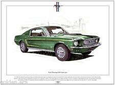 FORD MUSTANG 428 COBRA JET - Fine Art Print - A3 size - 1968 American muscle car