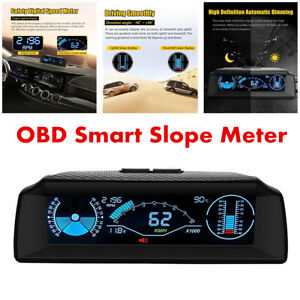 Multi-function LCD Head Up Display Car OBD2 Compatible Speedometer Slope Meter