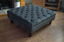 Chesterfield Square Style  Deep Button  Footstool in Crush Charcoal Fabric